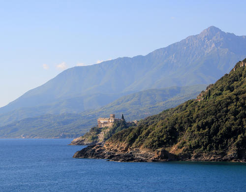 Mount Athos with the Monastery of Stavronikita