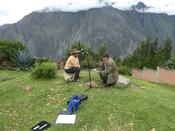 Collaborator Gabriel Barreto (right) records a monolingual Quechua speaker in Huantar in Peru. Source: Uli Reich
